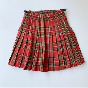 Red Plaid Wool Scottish Skirt